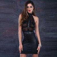 Women Dresses 2018 Black Halter Off the Shoulder Vinyl Leather & Mesh Clubwear Sexy Transparent Club Bodycon Party Dresses XXL