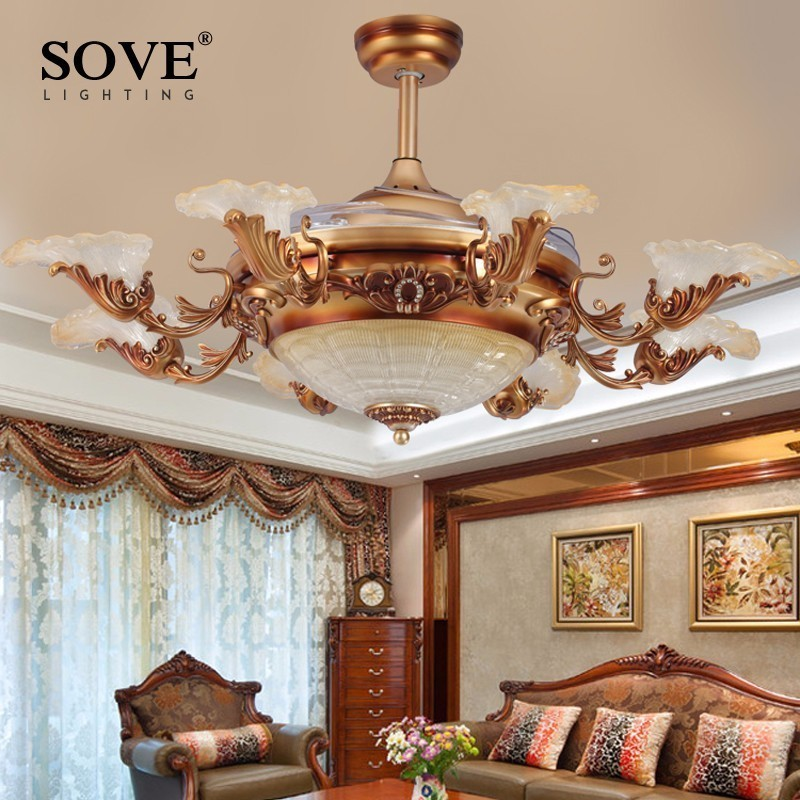 European Modern LED E14*8 Invisible Retractable <font><b>Ceiling</b></font> Fans With Light Living Room Folding <font><b>Ceiling</b></font> Fan Lamp Remote Control