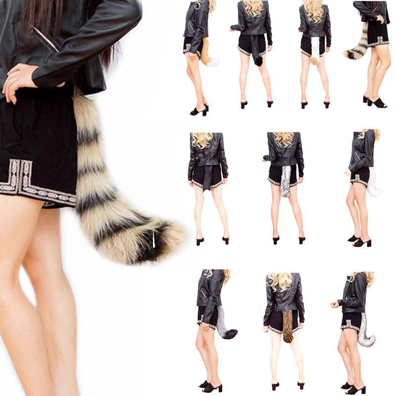 Fashion Novetly Realistic Faux Fur Fox Tail Adjustable Sexy Fluffy Fake Plush Tails Halloween Party Cosplay Costume -MX8