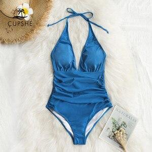 Image 4 - Cupshe Solid Blue Shirring One piece Swimsuit Women Sexy Halter V neck Plain Monokini 2020 Summer Female Beach New Swimwear