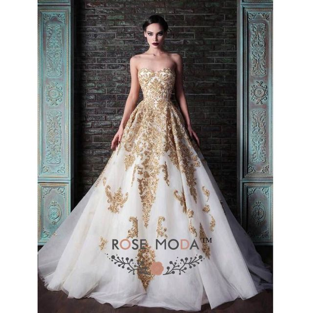Aliexpress.com : Buy Luxury White And Gold Ball Gown