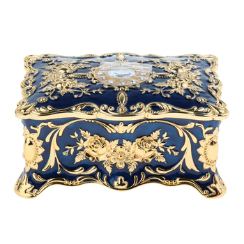 2 Layer Blue Large Vintage Metal Trinket Jewelry Boxes Gift Storage Organizer Gift for Girls