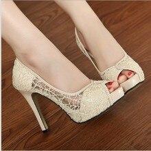 Бесплатная доставка мода на высоких каблуках обуви сексуальное кружево сетки тонкие каблуки туфли на высоком каблуке лучшее чувство платформа рыбий рот сандалии