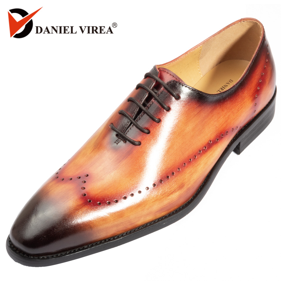 Genuine Leather Men Dress Shoes Office Business Wedding Mixed Brown Color Luxury Formal brogue Pointed Toe Oxfords Mens Shoes men luxury crocodile style genuine leather shoes casual business office wedding dress point toe handmade brogue footwear oxfords page 5 page 5 page 2 page 1