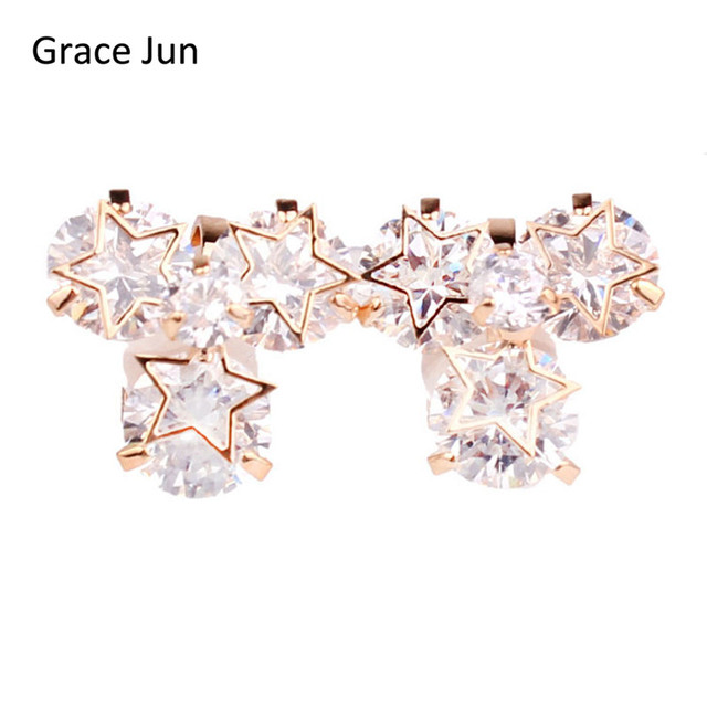 Grace Jun High Quality Copper Material 3 Five Pointed Clip On Earrings Without Piercing For