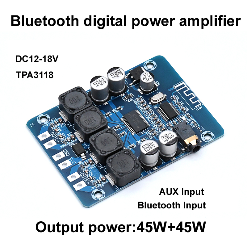 Image 3 - TPA3118 Bluetooth Digital Amplifier Board 45W*2 2.0 channel Stereo Audio Amplification Module AUX Decoder Home Audio-in Amplifier from Consumer Electronics