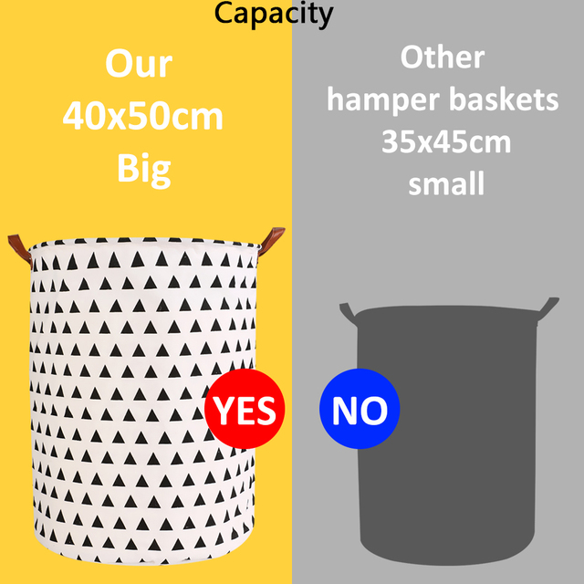 1pc Folding Laundry Basket Round Storage Bin Bag Large Hamper 1