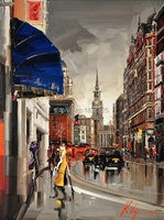 Modern Style Abstract Oil Painting Canvas Retro City Street Landscape Oil Pictures Decorative Painting Wall Art No Frame 1 Piece