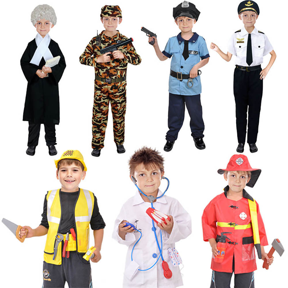 Fireman Police Soldier Costume Outfit Set Kids Role Play Cosplay Fancy Dress Up