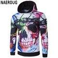 La oscuridad de los hombres 3d del cráneo de la personalidad de la moda de impresión con capucha sudaderas con capucha suéter adolescentes inconformista calle clothing sweatershirts