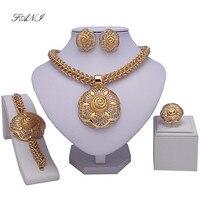 Fashion 18K Gold Plated Nigerian Wedding African Beads Jewelry Set Crystal Saudi Jewelry Sets Bracelet Earring