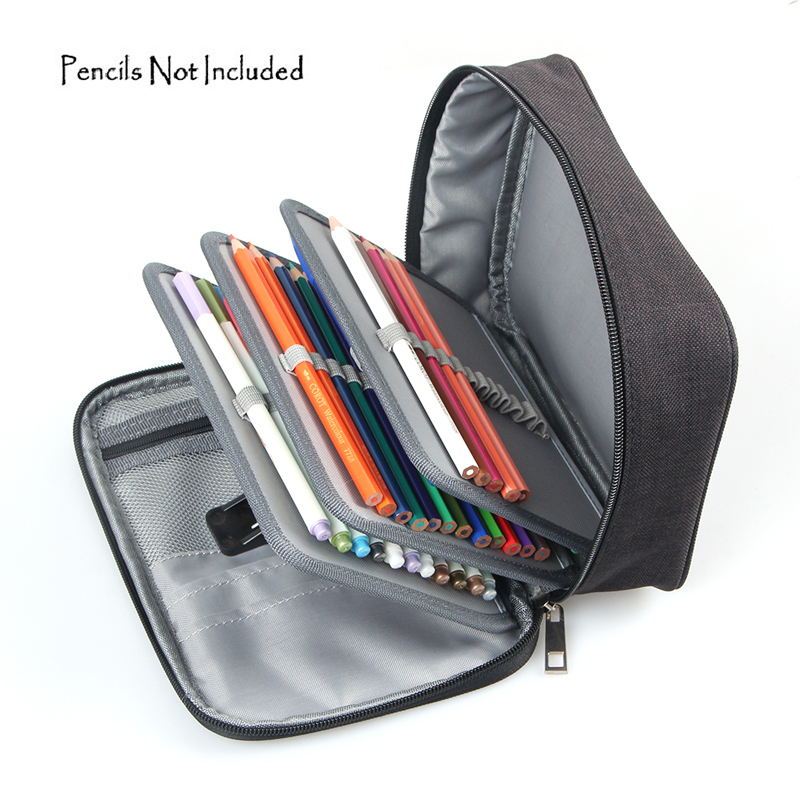 72 Slots Detachable Oxford Canvas School Pencils Case Large Capacity Watercolor Colored Pencil Bag For Student Gift Art Supplies kicute new 120 slots large capacity oxford canvas 4 layers school pencil case pencil bag art marker pen holder school supplies