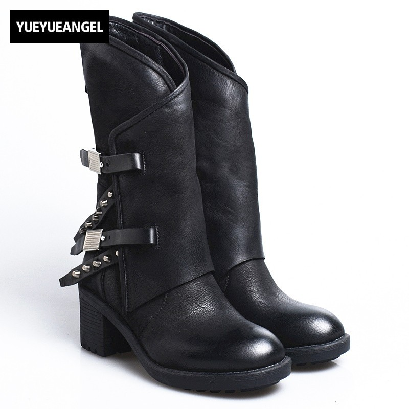 2019 Winter Women Thick Heel Platform Rivet Vintage Casual Mid Calf Boots Women Street Punk Sheepskin Round Toe Knight Boots