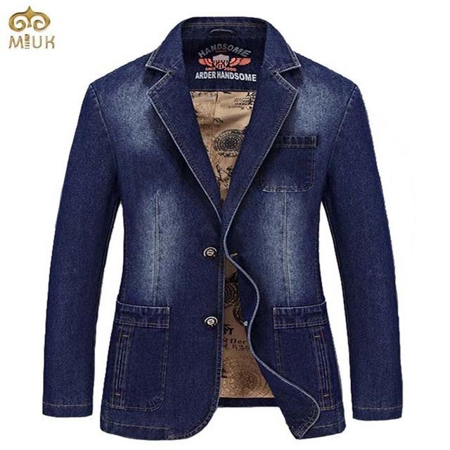 2fe4865f7c0df CHAUDE 2017 Nouveau Printemps Noir Bleu Marque Hommes Blazer Hommes  Tendance Jeans costumes Costume Décontracté Jean