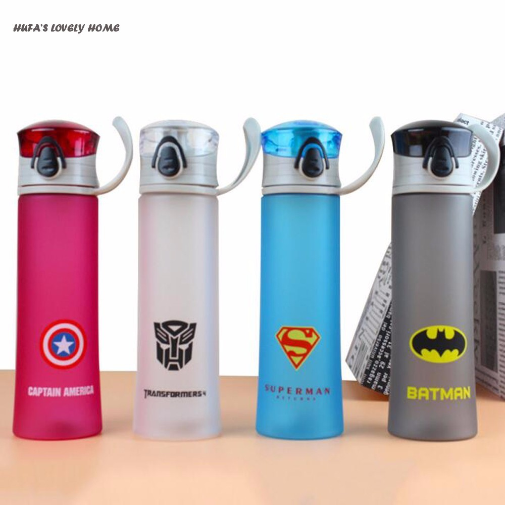 New Cartoon 450ml Water Bottle Portable Camping Cycling Spaces Juice Plastic Drinkware My Sports Water Bottle Eco-Friendly