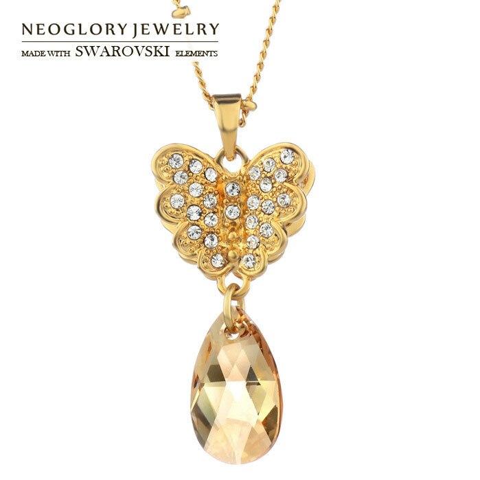 Neoglory Cristal Autrichien Lumière Jaune Or Couleur En Gros Pendentif Colliers Pour Les Femmes Cadeau 2018 Nouveau Mode Bijoux CLE QC2