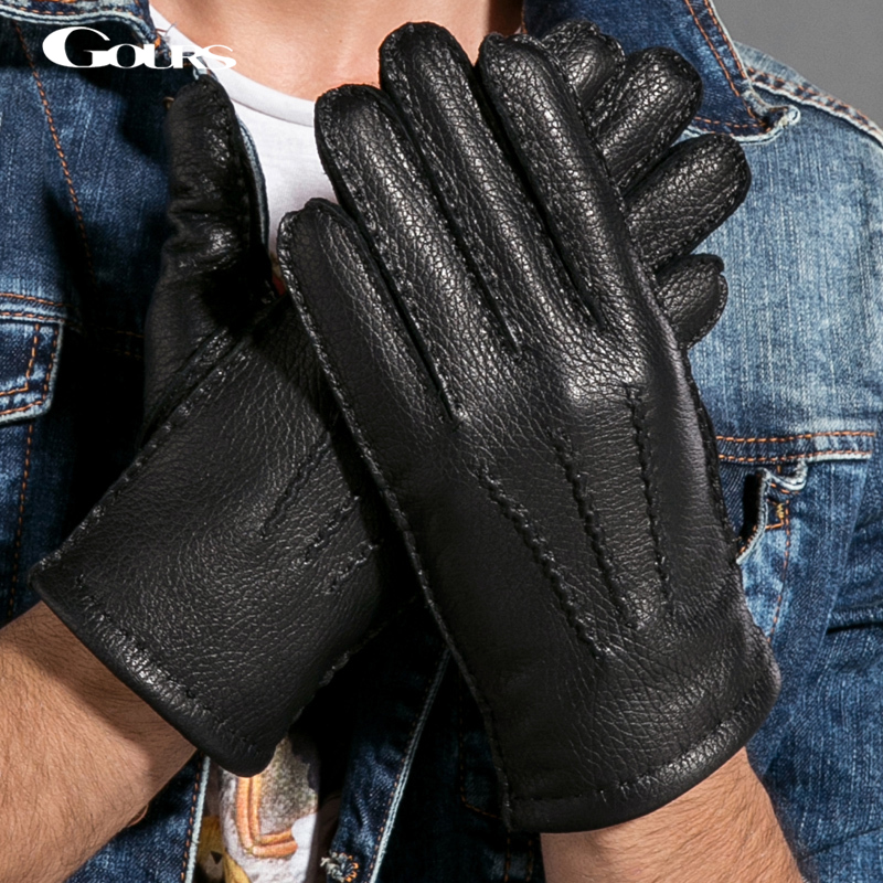 Gours Winter Men Genuine Leather Gloves New Fashion Brand Deerskin Mittens Black Plus Velvet Warm Fashion Driving GSM025