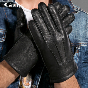 Image 1 - Gours Winter Men Genuine Leather Gloves New Fashion Brand Deerskin Mittens Black Plus Velvet Warm Fashion Driving GSM025