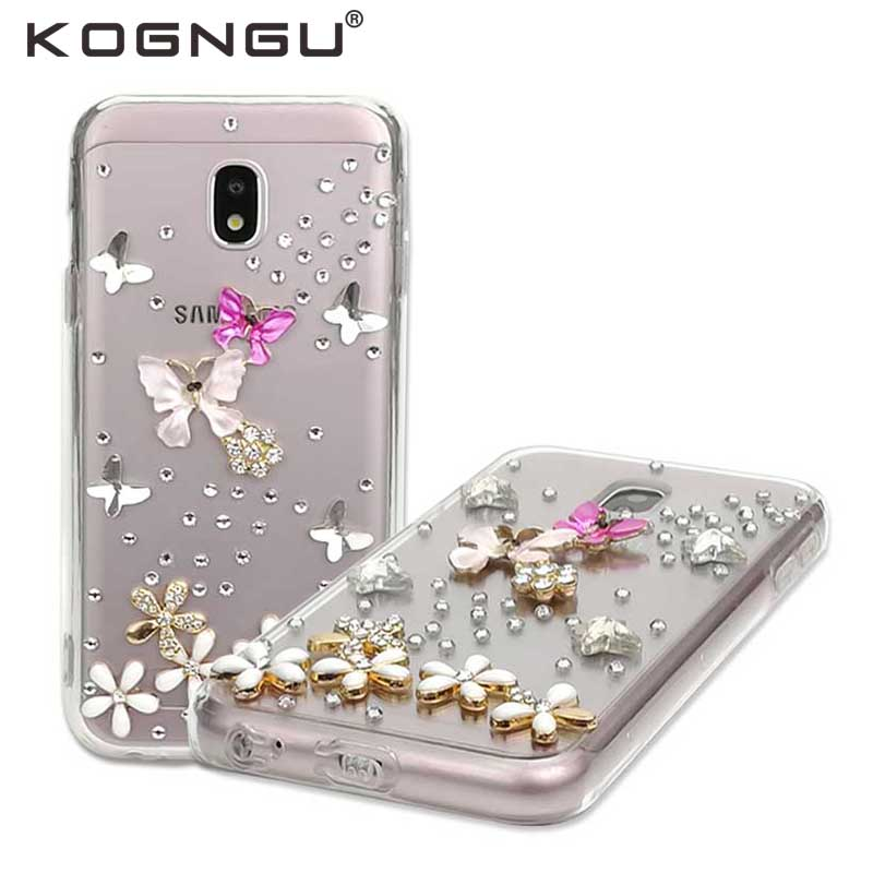 Kogngu Women Accessories for Samsung Galaxy J5 2017 Cover Luxury Rhinestone Silicone Bumper Cases for Samsung J5 Pro 2017 Case