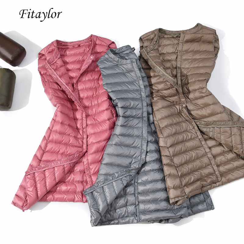 Fitaylor Winter New Women Ultra Light Vests White Duck Down Jacket Slim Medium Long Down Coat Female  Single Breasted Outerwear