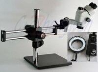 Тринокуляр стерео микроскоп 7X 45X стерео микроскоп на шариковом подшипнике стрелы стенд Simul фокальный микроскоп + светодио дный 60 Светодиодн