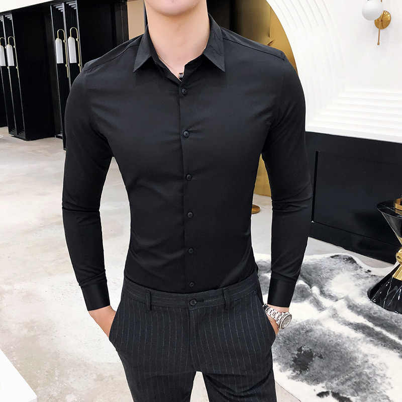 高品質シルクのシャツの男性春長袖メンズドレスシャツ固体シンプルなすべての一致スリムフィット男性のシャツのビジネスフォーマルウェア