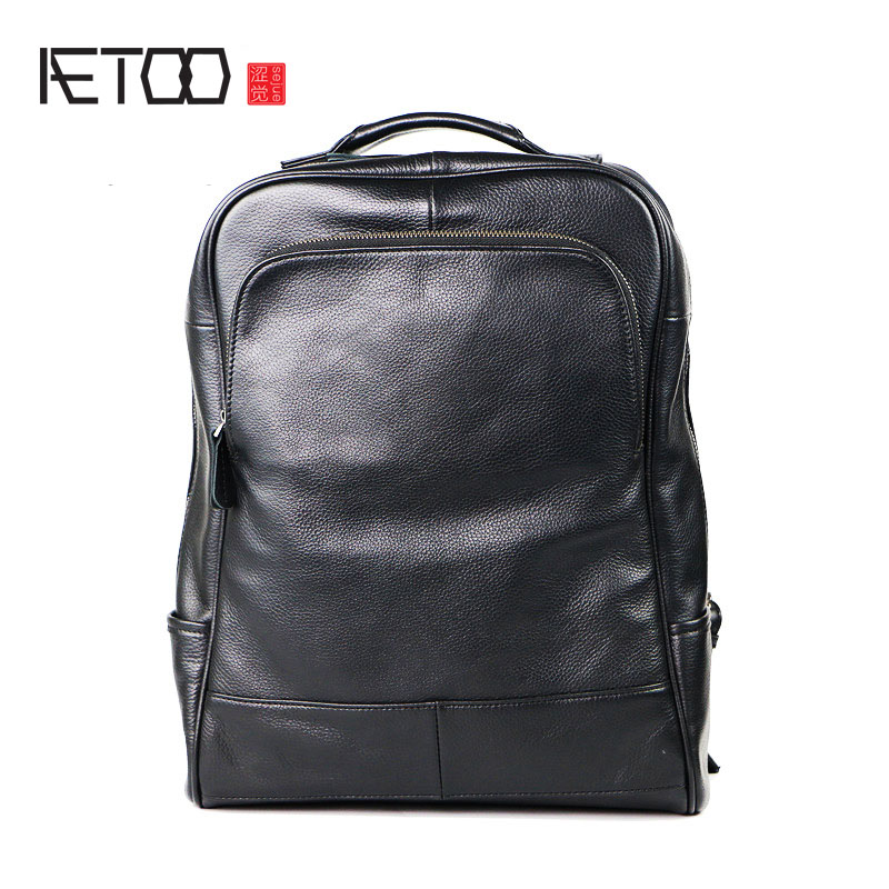 AETOO School bags men business casual shoulder bag leather backpack fashion trend shoulder bag head layer of leather aetoo explosive fashion korean version of the multi purpose men s shoulder bag head layer of leather backpack bag
