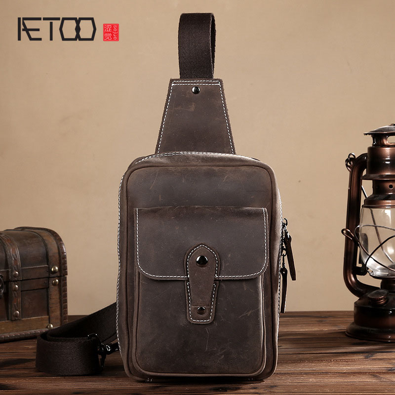 AETOO Crazy horse skin chest bag male leather men leisure package retro leather Messenger bag tide men bag aetoo crazy horse skin chest bag male leather men leisure package retro leather messenger bag tide men bag