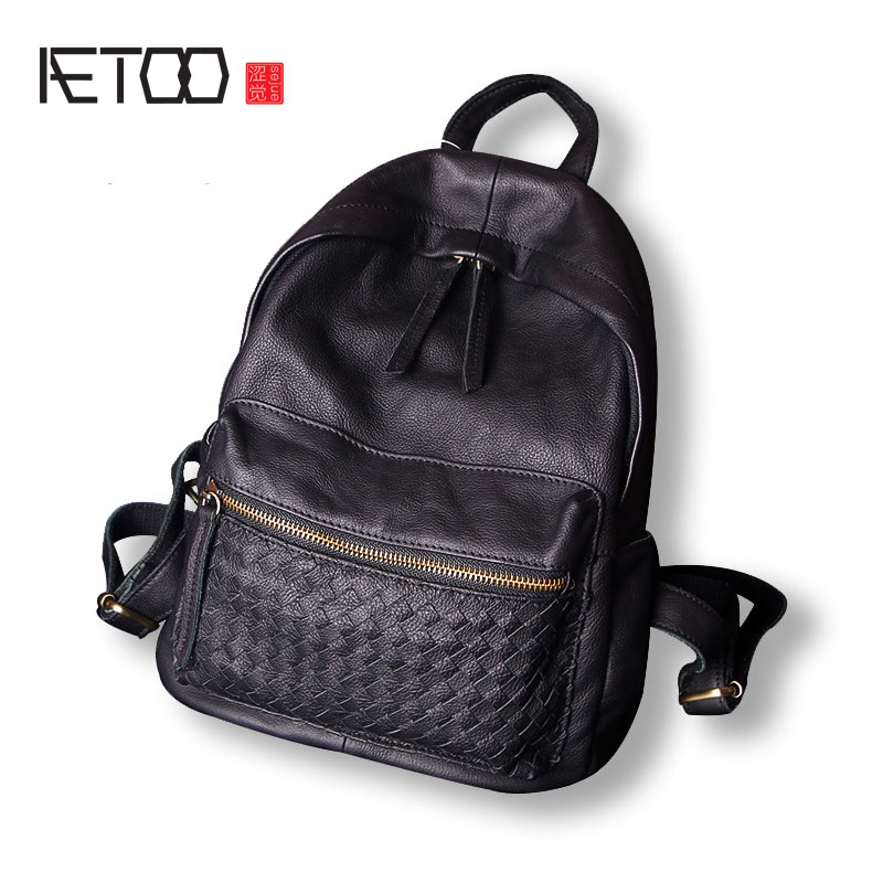 AETOO The first layer of leather weave shoulder bag female of the in Europe and the United States street fashion leather backpac canyon cne cpb130w h2cnecpb130w белый
