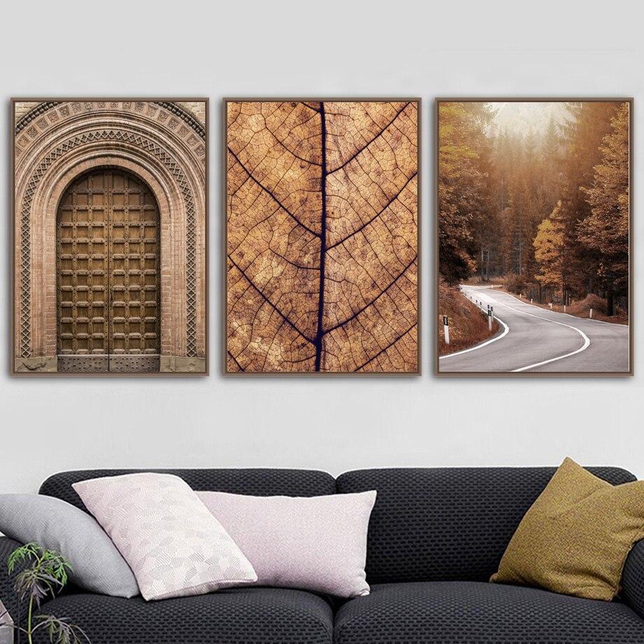Image 3 - Morocco дверь лес дорога листья Настенная картина с ландшафтом холст живопись плакаты на скандинавскую тему и принты настенные картины для декора гостиной-in Рисование и каллиграфия from Дом и животные