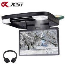 مشغل XST MP5 لسقف السيارة 15.6 بوصة وأقفال دي في دي مع منفذ HDMI USB وبطاقة SD ومشغل DVD مع جهاز إرسال إف إم مدمج يعمل بالأشعة تحت الحمراء