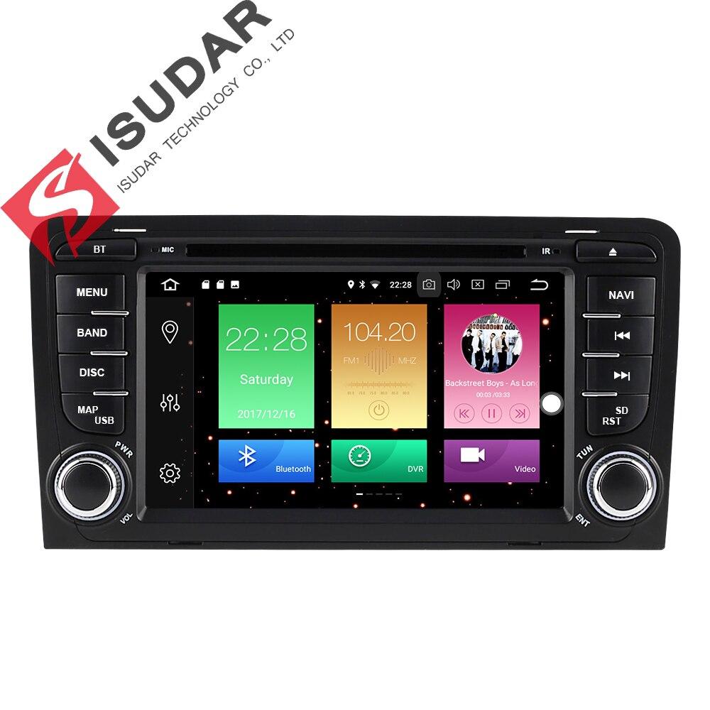 Isudar Voiture Multimédia Lecteur 2 din Autoradio GPS Android 8.0.0 Pour A3/S3/Audi 2002-2013 arrière Vue Caméra Microphone DSP USB DVR