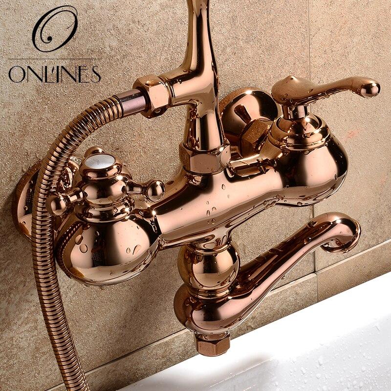 German online European antique full copper rose gold bathtub faucet ...