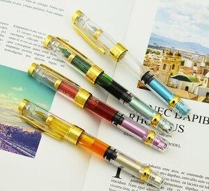 Image 4 - Набор прозрачных перьевых ручек Wing Sung 3008 Piston, EF/F Серебристые/GoldenTrim чернила, подарочная ручка для офиса, бизнеса, школы, 4 шт.