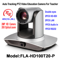 2MP H.265 POE 20X Zoom Auto Tracking PTZ Video Conference Camera 2.0 Megapixel with 3G SDI LAN RS232 For Teaching /Media system