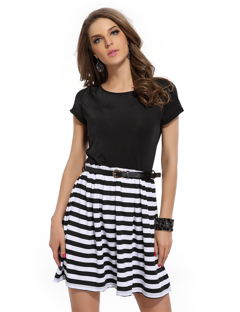 2015 New Summer Style Black and White Striped Casual Dress A-line Short  Sleeve Mini Dresses With Belt d19cff190