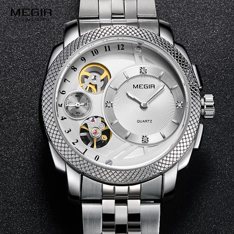 MEGIR Men's Steel Quartz Wrist Watches Fashion Waterproof Clock Relojes Decorative Mechanical Relogios MS2091 цена и фото
