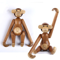 Wooden Monkey Solid Teak Wood Joint Turnable Adjustable Figurines Statue Home Decor Birthday Gift Nordic Denmark Craft XMJMC02