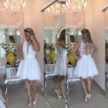 Sexy Short White Lace Tüll. Klasse Graduation Dresses 2016 Sleeveless Tiefer V-ausschnitt Knielangen Kurze Cocktail Prom Kleider
