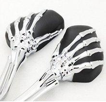 Universal Skull Chrome and Black Motorcycle Skeleton Bone Hands Side Mirrors For Harley Davidson chrome mirrors skeleton
