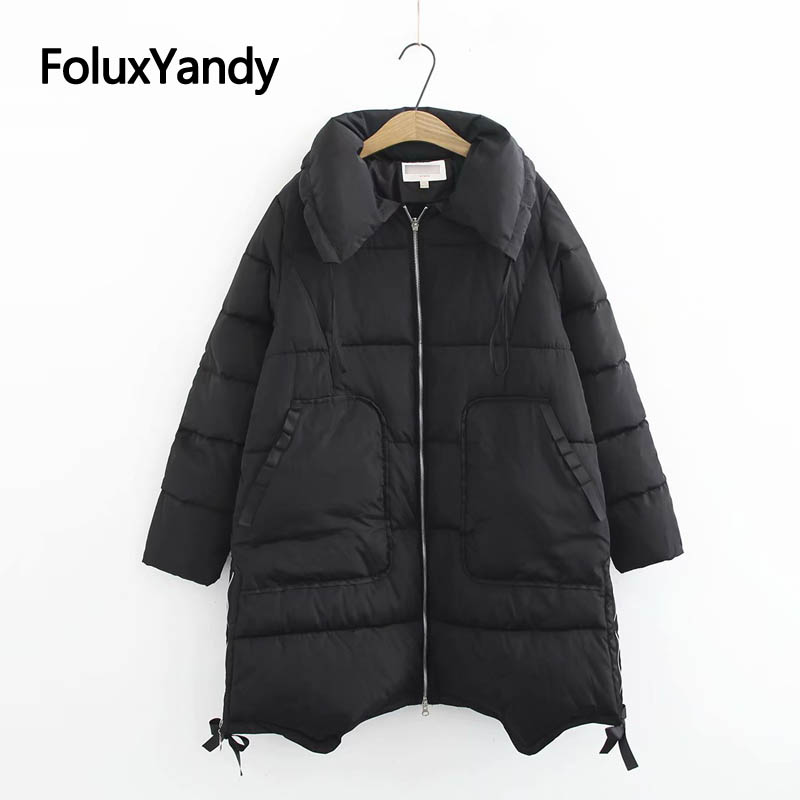 Turn-down Collar Women   Parkas   Winter Coats Plus Size XXXL 5XL Casual Pockets Loose Warm Thick Long   Parka   Black KKFY2945