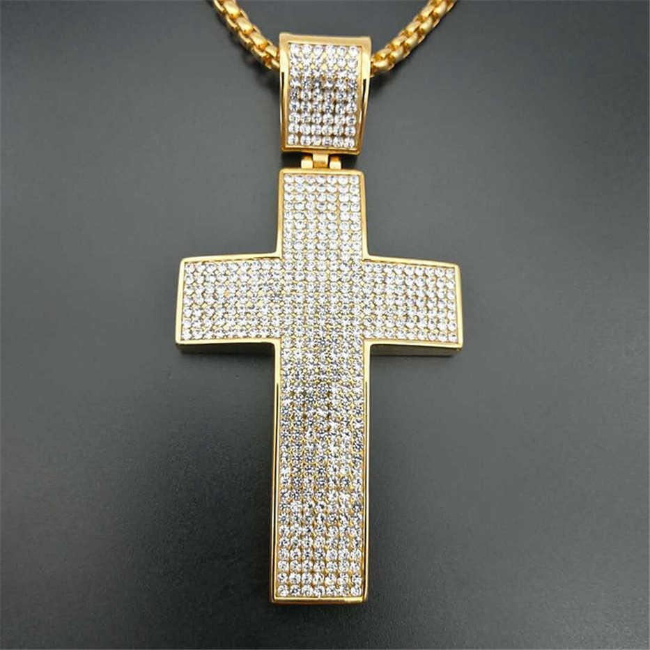 Hip Hop Ghiacciato Fuori La Grande Croce Pendente Della Collana Con Acciaio inossidabile Chian E Oro di Colore Christian Collana Dei Monili Religiosi