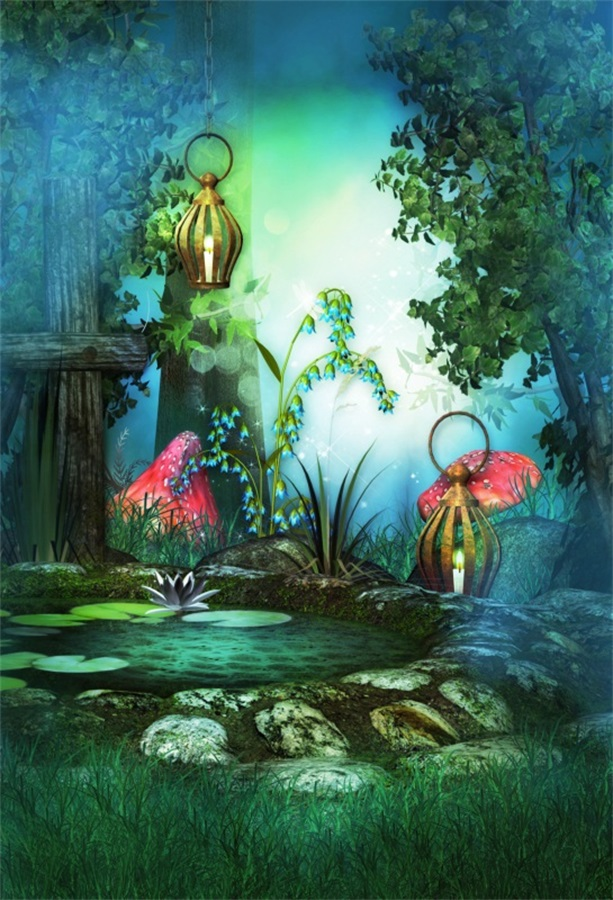 Laeacco Fairytale Hazy Mushrooms Lamps Pool Baby Photography Backdrops Vinyl Photo Backdrops Custom Backgrounds For Photo Studio