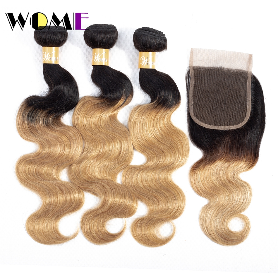Wome Hair Pre-Colored Ombre Body Wave 3 Bundles With Closure Peruvian Human Hair Blonde Bundles With Closure 1b/27 Non Remy Hair