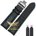 20 мм 22 мм часы ремешок ремешок бабочки натуральная кожа развертывания пряжка браслет черная с красной линии ремешки
