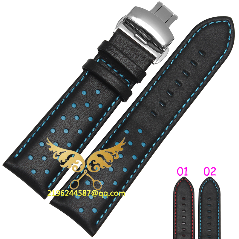 20mm 22mm Watch Band Strap Butterfly Pattern Genuine Leather Deployment Buckle Bracelet Black with Red line Watchbands  20mm 22mm 24mm genuine leather watch band strap watch with black buckles black