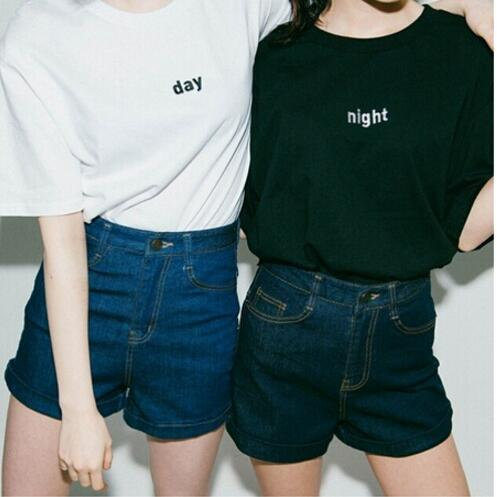 Fashion Casual Female Women T-shirt Night And Day Letters Printed Short Sleeve Shirt Summer Gilrs Top Crop White Black