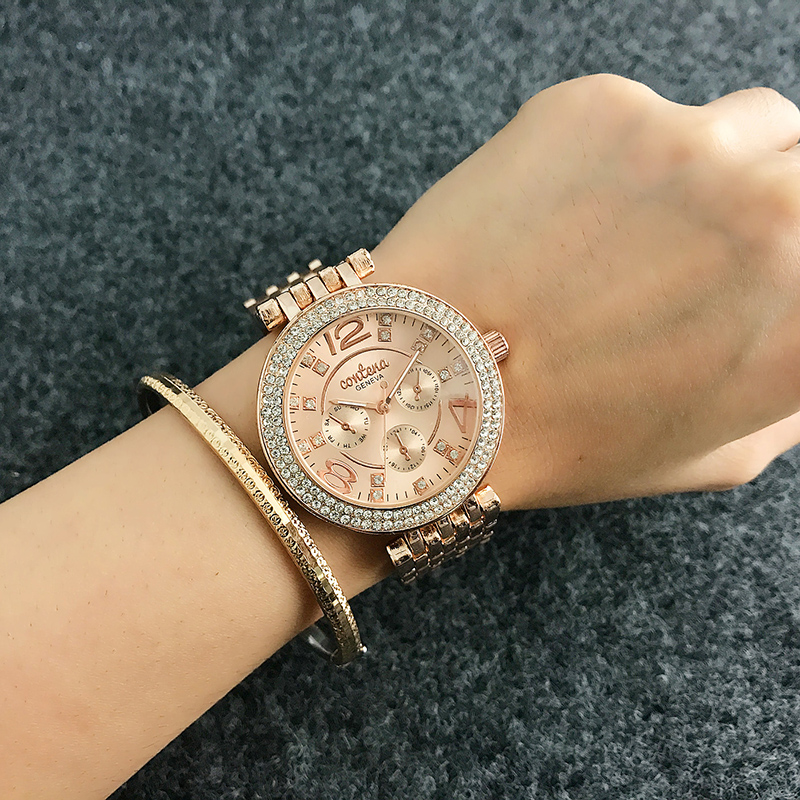 Top Brand Contena Luxury  Montre Watch Femme Fashion Ladies Women Rhinestones Full Logo Watches Quartz Mujer Crystal Relojes tezer ladies fashion quartz watch women leather casual dress watches rose gold crystal relojes mujer montre femme ab2004