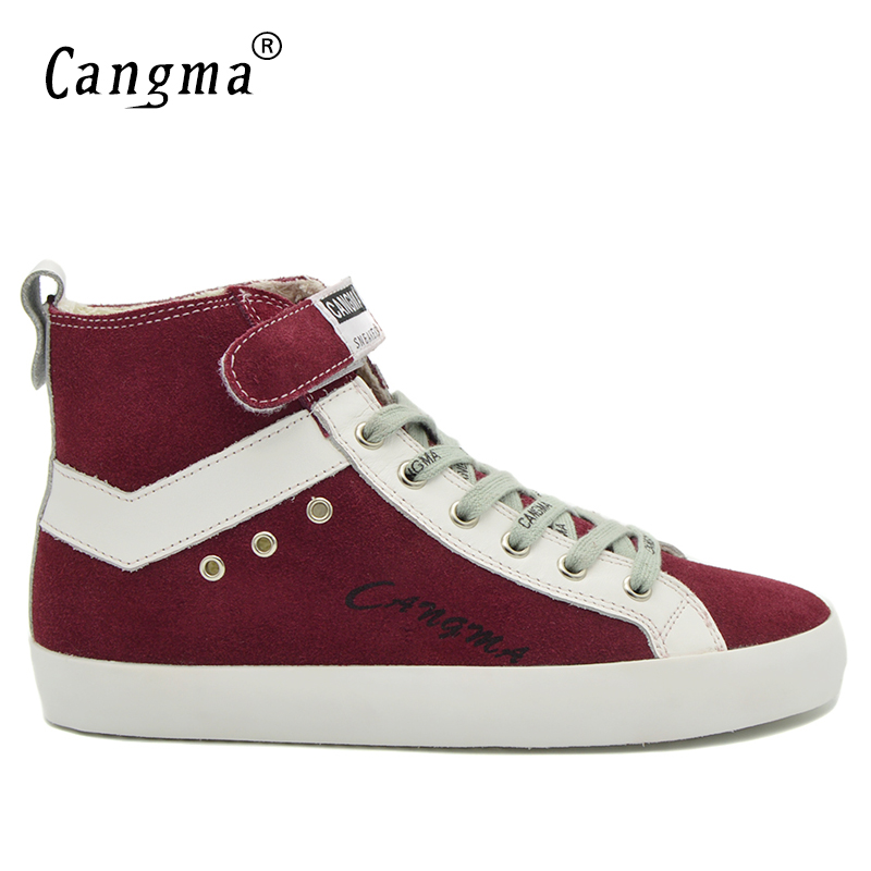 CANGMA Luxury Brand Sneakers Men Boots Designer Handmade Male Genuine Leather Shoes Man's Wine Red Cow Suede Shoes Ankle Boots cangma original luxury man s boots casual shoes ankle boots brand sneakers men lace up patent genuine leather male silver shoes