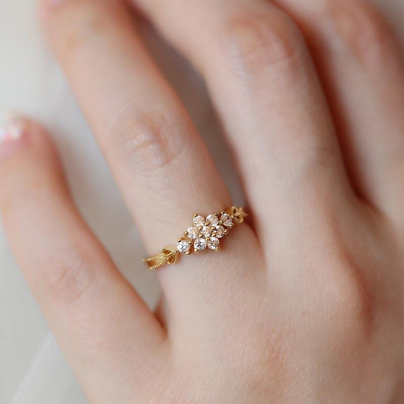 Регулируемые Изящные милые женские кольца со снежинкой, изящные кольца, свадебные украшения